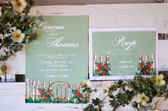 Custom hand painted wedding Invitation, enclosure and RSVP.  Facebook: Symmetry Co.