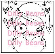 Dilly Beans Stamps: #566-Jenn's Heart Framed $3.50
