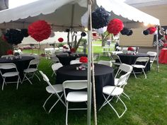 Red black pom pom outdoor party
