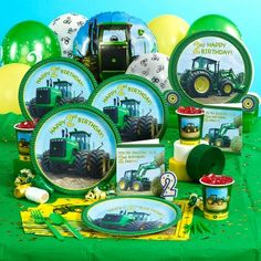 A visit to the local farm, the animals, and John Deere tractors makes a great child's birthday party! Here's how to make a great John Deere farm party for both boys and girls. 2nd Birthday Party Themes, Boy Birthday Parties, Birthday Ideas, Birthday Supplies, Themed Parties, Tractor Birthday, Farm Birthday, Happy Birthday, John Deere Party Supplies