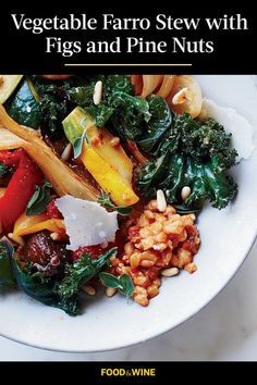 This vegetable farro stew incorporates figs and pine nuts to create the ultimate comfort food meets fall recipe. Whether you're looking to eat this fig recipe as a cozy fall dinner or pack it up for lunch, it's a great choice for a comfort food recipe.#comfortfood #fallrecipes #stewrecipes #figrecipes