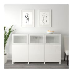 BESTÅ Storage combination with doors, white Selsviken, Glassvik high-gloss/white frosted glass white Selsviken/Glassvik high-gloss/white frosted glass 70 7/8x15 3/4x44 1/8