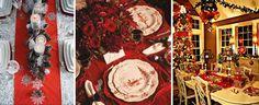 Красная сервировка стола на новый год