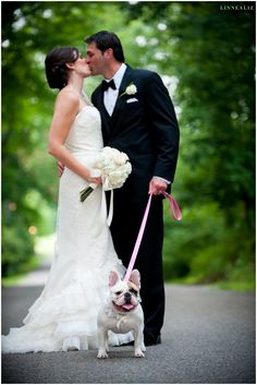 French bulldog flower girl! || Photo by LinneaLiz Photography www.LinneaLiz.com || Selected by Finepointwedding.com
