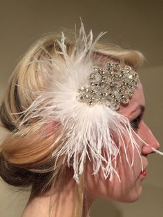 White & Gold Feather Headpiece-Ostrich Feather 20s Head Wrap-1920 Hair Accessory-Speakeasy-Handmade in USA-Charleston Hair Accessory   Hello, This feather head wrap is made with ostrich feathers.  The rhinestone piece measures about 5 inches x 2 inches wide and the feathers are 6-7 inches.  They are placed on a stretch band that fits any adult head size and very comfortable. Other Feather Colors available in: white ivory pink orange fuschia red coral brown lime light blue royal navy bk&#x...