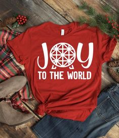 Disney Christmas Shirts, Autumn T Shirts, Disney Outfits, Disney Clothes, Joy To The World, Disney Apparel, Etsy, Awesome, Cheers