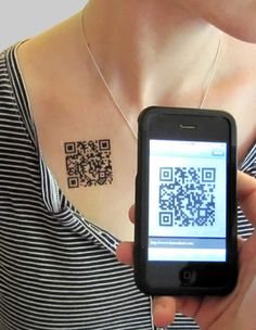 custom QR code temporary tattoos-could be an interesting way to market something and would be fun at Dragon con Cool Tattoos For Girls, Small Girl Tattoos, Cute Small Tattoos, Tattoos For Women, Tribal Tattoo Designs, Real Tattoo, I Tattoo, Photomontage, Barcode Tattoo