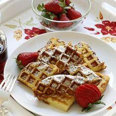 Yummy breakfast or breakfast for dinner! Easy French Toast Waffles - Allrecipes.com #breakfastrecipes#breakfast