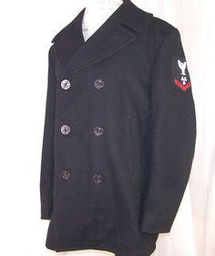 US Military Navy Wool Black Coat Peacoat Heavy 42R USN 8405-01-154-5793 Enlisted #DSCPQuarterdeck #Peacoat