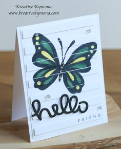 Jamaican Butterfly was created with Papertrey Ink Life is Beautiful stamp set, Stripes Horizontal Cover Plate, Wet Paint stamp set; Lawn Fawn Scripty Hello and Pretty Pink Posh Clear Sequins.