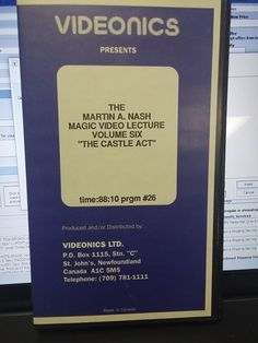 """The Martin A Nash Magic Video Lecture Volume 6 """"The Castle Act"""" VHS Tape Please check out all our rare value priced Magic tricks & Books at: http://stores.ebay.com/webrummage"""