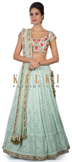 Mint lehenga in lucknowi thread work with badla embroidered dupatta only on Kalki