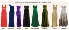 Colores para los vestidos de las invitadas a una boda de noche