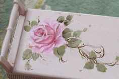 Jo-Anne Coletti hand painted roses, vintage hamper, pink roses