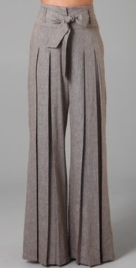 L.A.M.B super wide pleated pants with bow waist