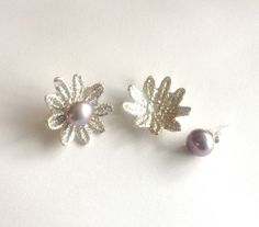 Sterling Silver Earring Jacket  Flower Lace by SarahAnaDesigns