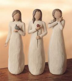 """Willow Tree Figurines-The """"Three Blessings"""" Love, Joy Peace - .""""May the blessings of peace, love and joy be a presence in your life"""" Willow Tree Figures, Willow Tree Angels, Pottery Sculpture, Tree Sculpture, Willow Tree Statues, Willow Wood, Clay Art, Wood Carving, Sisters"""