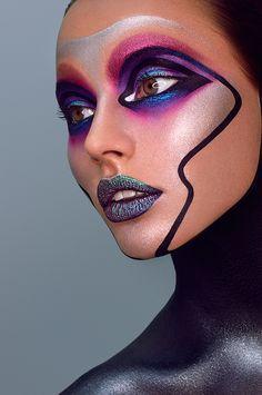 Full Face Makeup, Fx Makeup, Crazy Makeup, Makeup Inspo, Makeup Inspiration, Beauty Makeup, Extreme Makeup, High Fashion Makeup, Creative Makeup Looks