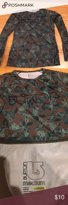 Burton dry ride women's base later Medium Olive greenish back floor with blue green leaf/ flower print. Awesome for outdoor winter activities.  Like new. Long sleeves with thumb holes. Burton Tops Tees - Long Sleeve