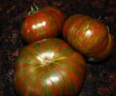 TOMATO, IND * CHOCOLATE STRIPES * HEIRLOOM SEEDS 2014 | Beautiful olive colored stripes on the outside with deep red flesh on the inside.