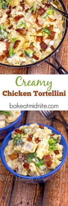 Creamy Chicken Tortellini - The Midnight Baker Turkey Recipes, Mexican Food Recipes, Italian Recipes, Real Food Recipes, Chicken Recipes, Dinner Recipes, Cooking Recipes, Dinner Ideas, Italian Dishes