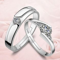 Romantic Women And Men Silver Plated Ring Female Couple Rings Women CZ Diamond Jewelry Hollow LOVE Design