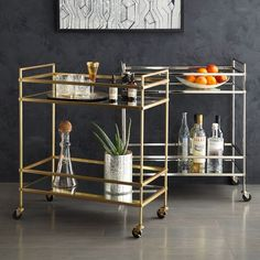 NEW! Inspired by Deco design, the glamorous Terrace Bar Cart offers an airy surface for your favorite spirits. Fitted with four wheels, it's a flexible piece that can move with the party.