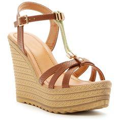 0fd2612757b194 GODIVA Embossed Snake Platform Wedge Sandal ( 33) ❤ liked on Polyvore  featuring shoes