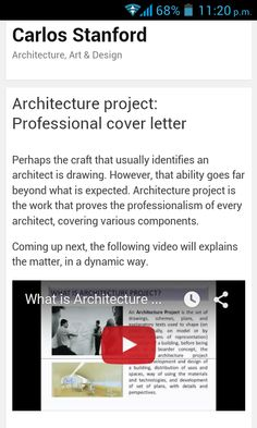 Architecture project.  Hi, there! It's a pleasure to share with you an image that represents a video-article, which explains about craft that credits me as an architect. I hope you like it. I cordially invite you to get into my blog.