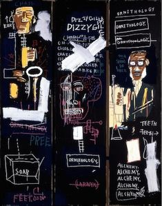 Jean-Michel Basquiat,Horn Players, 1983, acrylic and oilstick on three canvas panels mounted on wood supports, 243.8 x 190.5 cm (The Broad Art Foundation) © The Estate of Jean-Michel Basquiat (zoomable image here)