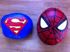 Super hero painted rocks