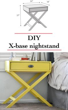 DIY nightstand idea | How to build an X-base accent table or nightstand with free plans