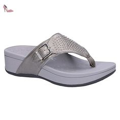 Vionic Womens Pacific Capitola Pewter Leather Sandals 42 EU - Chaussures vionic (*Partner-Link)