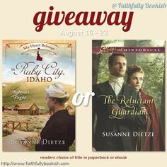 Susanne Dietze winner's choice giveaway on Faithfully Bookish
