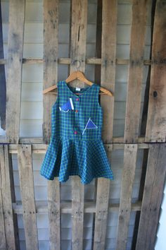 Green & Blue Plaid Vintage Cheerleader Dress with Red by vintapod
