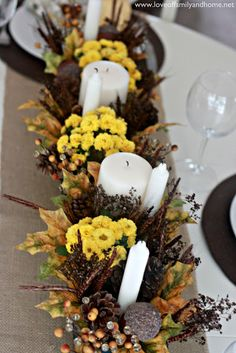 Love Of Family & Home: Teal & Yellow Fall Tablescape
