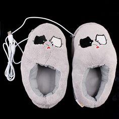 Cute Grey Piggy Plush USB Foot Warmer Shoes Electric Heat Slipper