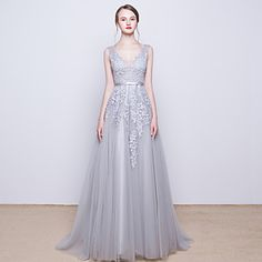 Prom+/+Formal+Evening+Dress+A-line+V-neck+Sweep+/+Brush+Train+Tulle+with+Beading+/+Lace+/+Sequins+–+GBP+£+51.65