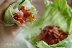 BLT lettuce wraps - I usually make a salad out of the same ingredients, never thought to just wrap it up.
