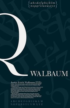 Walbaum Type Specimen - Poster make the poster speak for itself....walbaum is an exapmles of a moder 1775 typeface classification