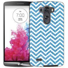 LG G3 Chevron ZigZag Glitter Blue White Slim Case