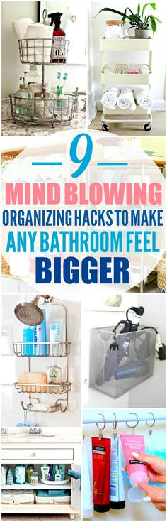 These 9 small bathroom organization hacks are THE BEST! I'm so happy I found these GREAT tips! Now I have some great ways to organize my bathroom and make it feel bigger! Definitely pinning!
