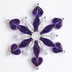 12 point white and purple quilled snowflake with silver gl… | Flickr