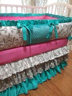 Items similar to Crib Bumper, Girl Baby Bedding Grey Damask, Teal & Hot Pink, Ruffled.