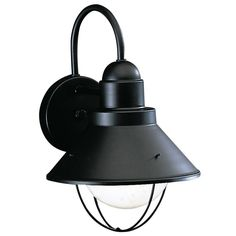 "Kichler 9022 Seaside Single Light 12"" Tall Outdoor Wall Sconce Black Outdoor Lighting Wall Sconces Outdoor Wall Sconces"