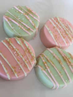 Pink and Mint Green and Gold Party Favor by SweetEscapesbyDebbie