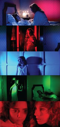 The intense colors used by Dario Argento in 'Suspiria'. These intense colours are used to intensify the characters feelings to show the audience the emotion clearly.