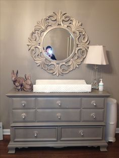 Refinished dresser and mirror!  Love Annie Sloan!