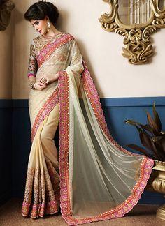Designer Sarees online shopping in USA UK Canada|Buy Stylish Beige Georgette On Net Designer Saree
