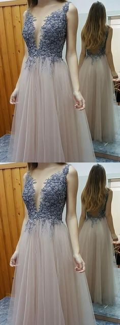 Sexy A-line Prom Dresses,Beaded Prom Dresses,Deep V-neck Prom Dresses,Evening Dresses,Open Back Prom Dress,Party Dresses M1509#prom #promdress #promdresses #longpromdress #promgowns #promgown #2018style #newfashion #newstyles #2018newprom #eveninggown #aline #beaded #tulle #deepvneck #openback #champagne